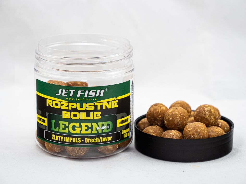 Rozpustné boilie JetFish Legend Range 250ml 20mm Žlutý impuls - Ořech/Javor