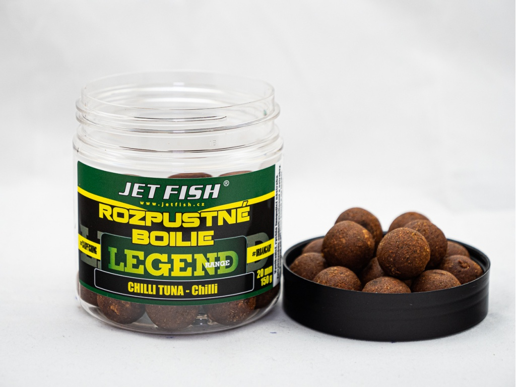 Rozpustné boilie JetFish Legend Range 250ml 20mm Chilli Tuna