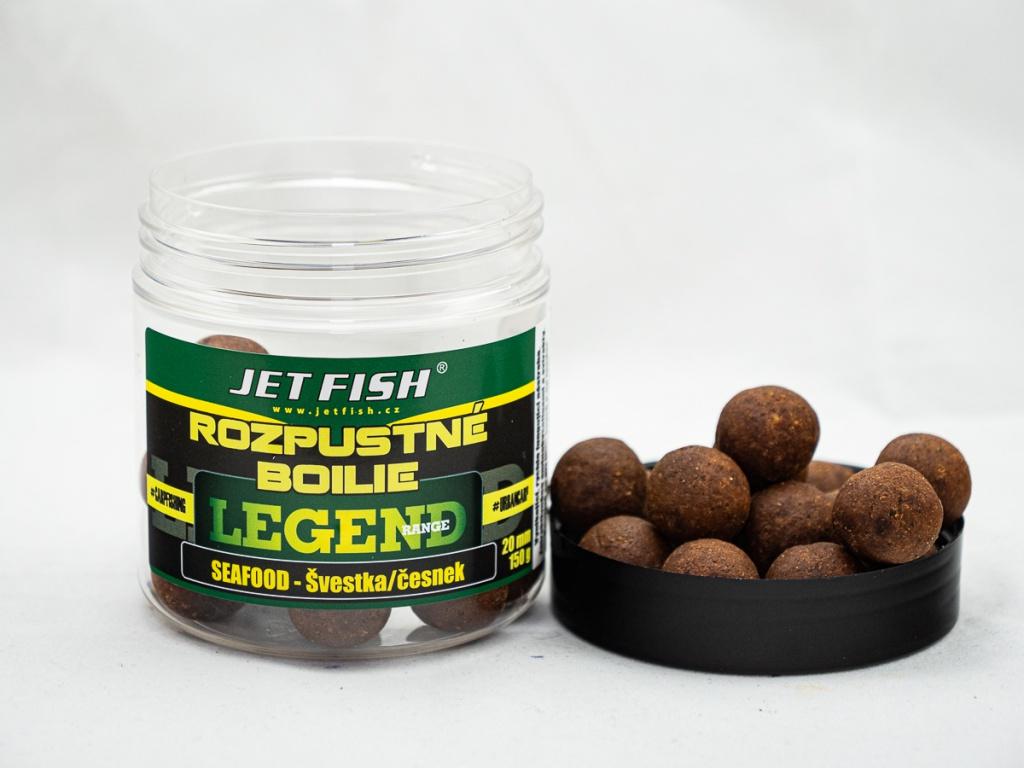 Rozpustné boilie JetFish Legend Range 250ml 20mm Seafood Švestka/Česnek