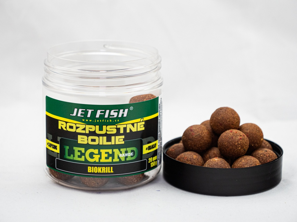 Rozpustné boilie JetFish Legend Range 250ml 20mm Biokrill