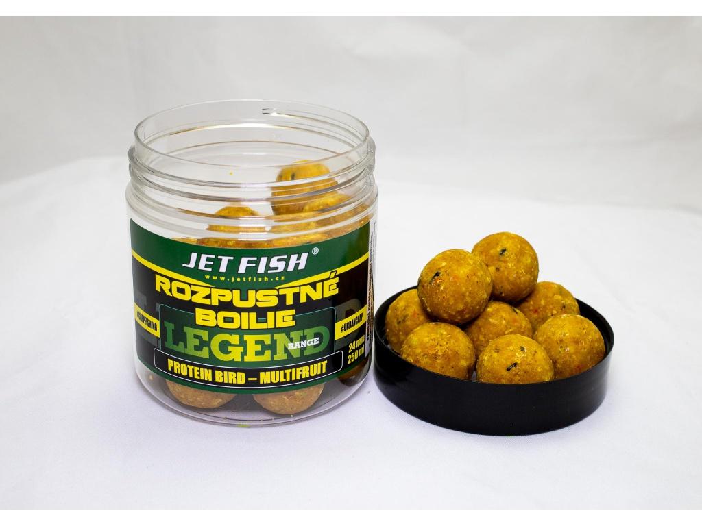 Rozpustné boilie JetFish Legend Range 250ml 24mm Protein Bird