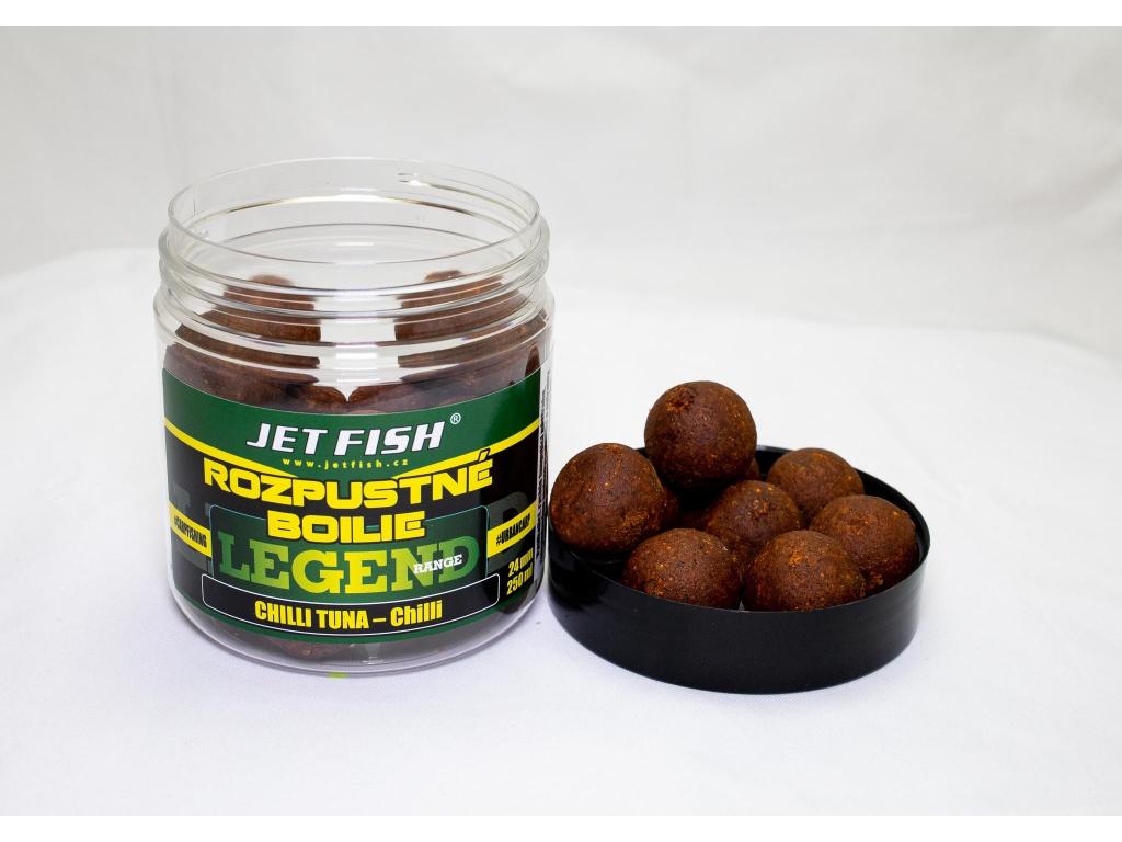 Rozpustné boilie JetFish Legend Range 250ml 24mm Chilli Tuna