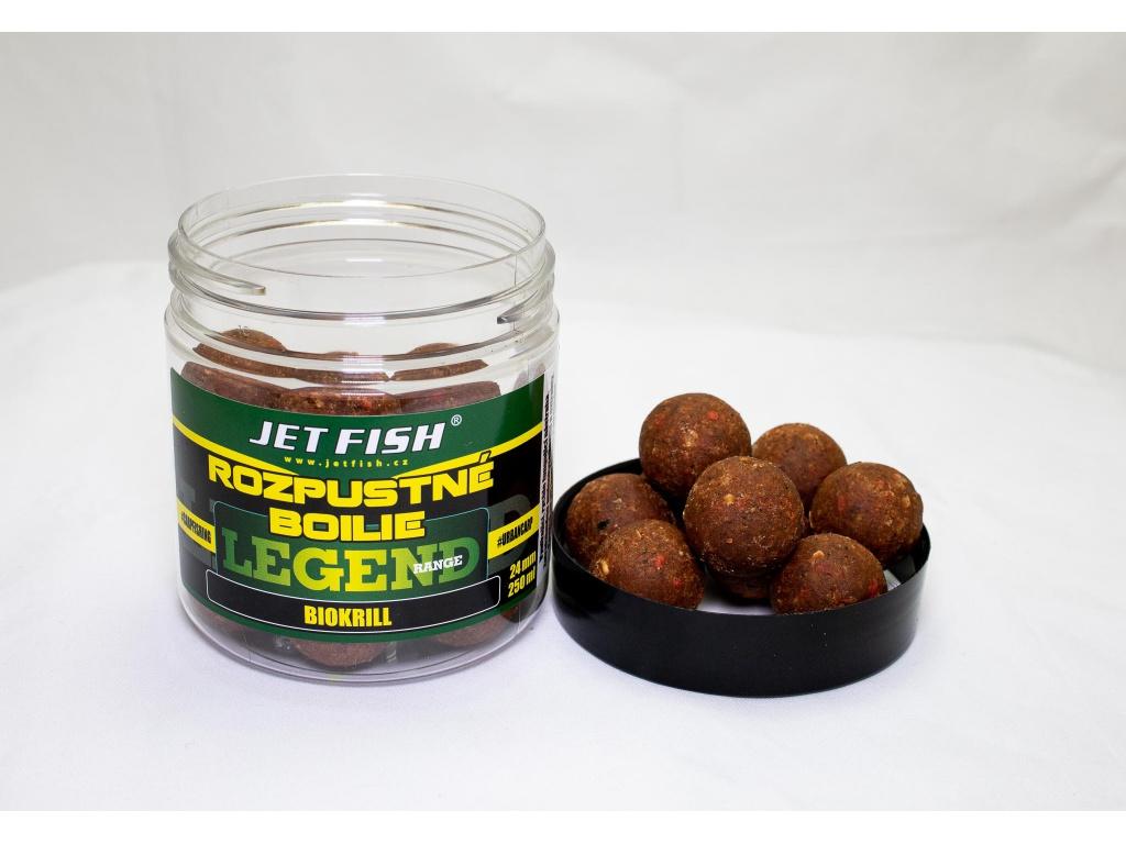 Rozpustné boilie JetFish Legend Range 250ml 24mm Biokrill