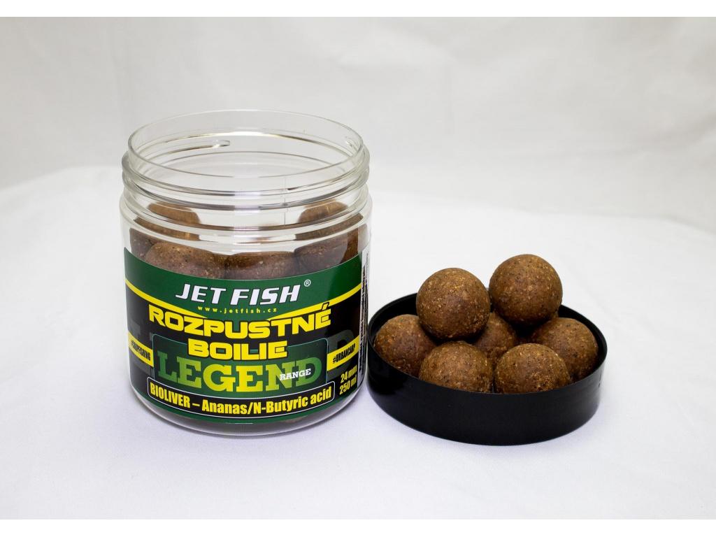 Rozpustné boilie JetFish Legend Range 250ml 24mm Bioliver Ananas/N-Butyricid
