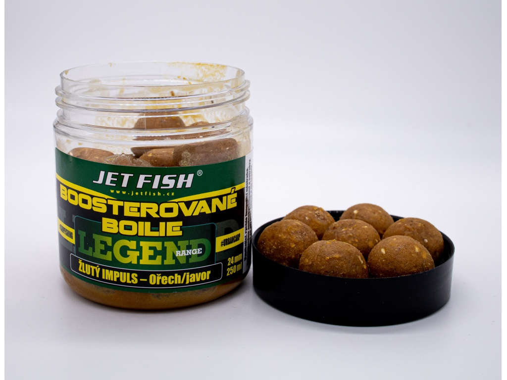 Boosterované boilie JetFish Legend Range 250ml 24mm Žlutý impuls - Ořech/Javor