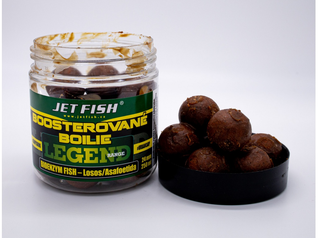 Boosterované boilie JetFish Legend Range 250ml 24mm Bioenzym Fish/ASA