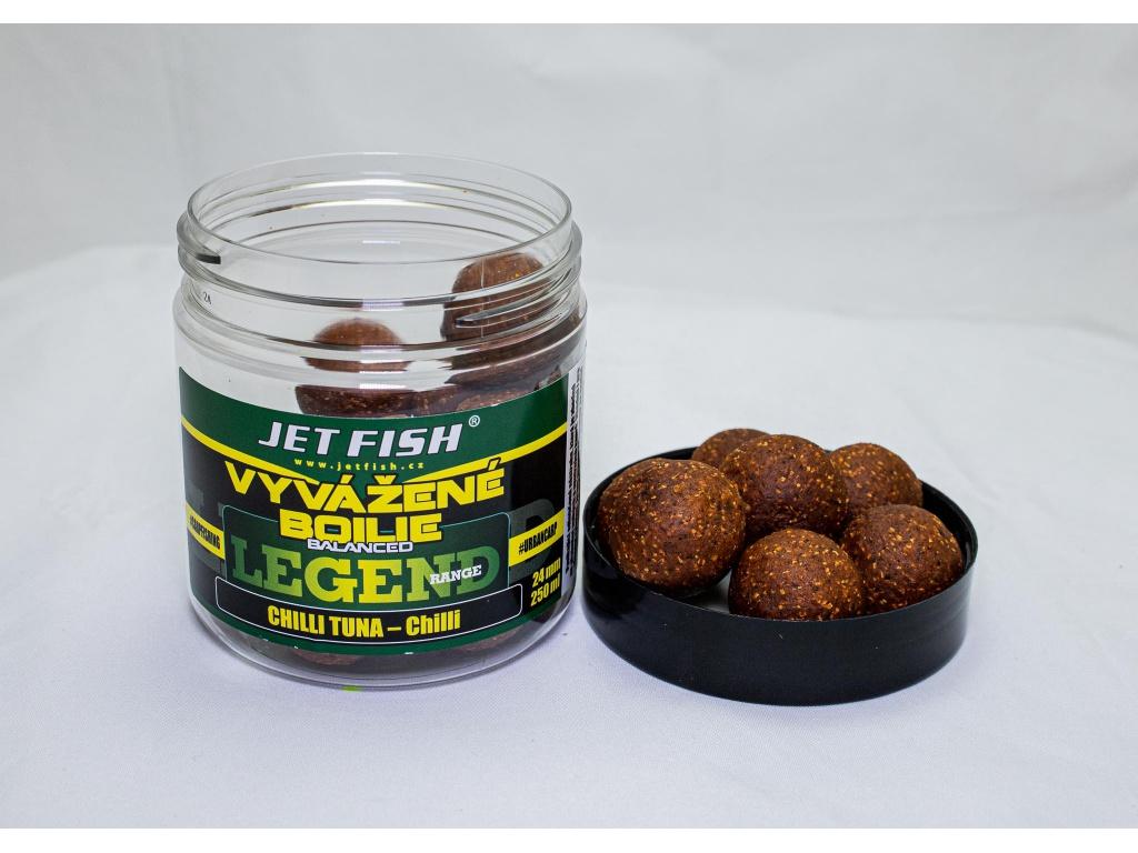 Vyvážené boilie JetFish Legend Range 250ml 24mm Chilli Tuna