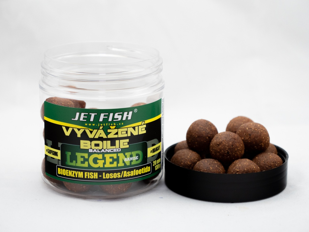 Vyvážené boilie JetFish Legend Range 250ml 20mm Bioenzym Fish/ASA