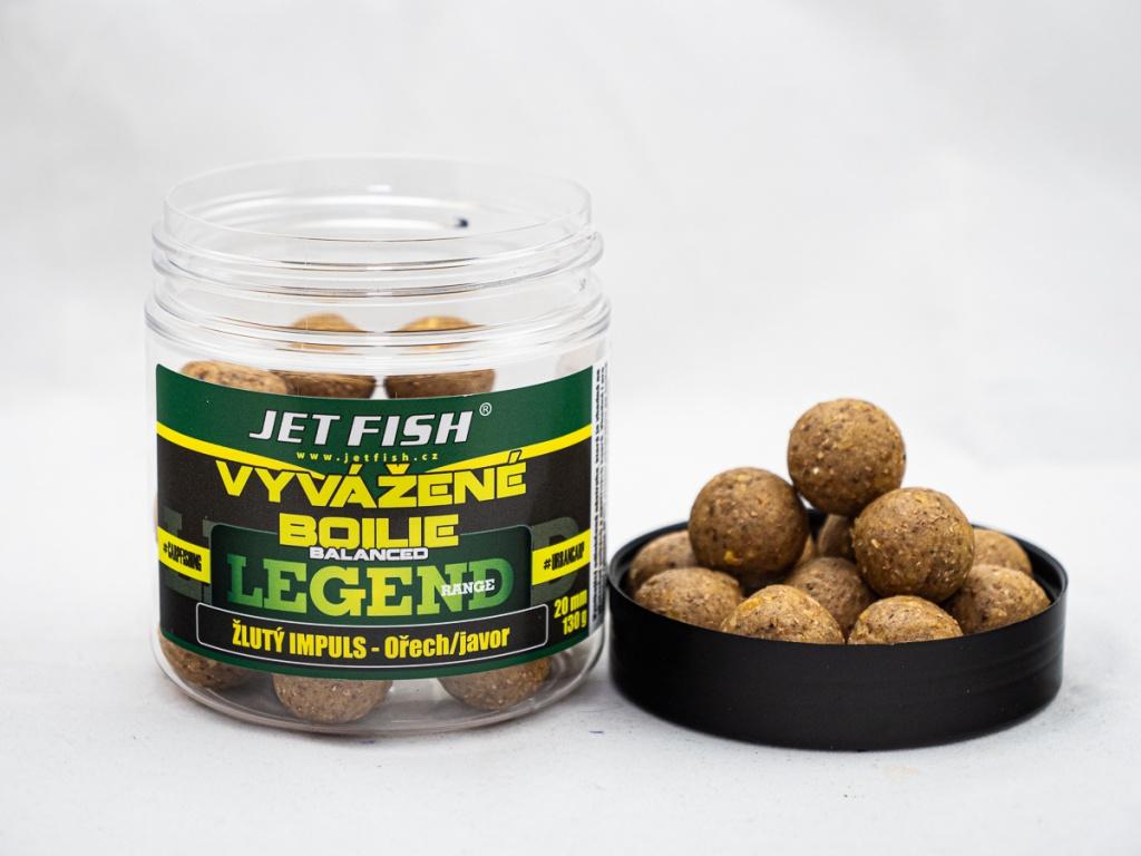 Vyvážené boilie JetFish Legend Range 250ml 20mm Žlutý impuls - Ořech/Javor