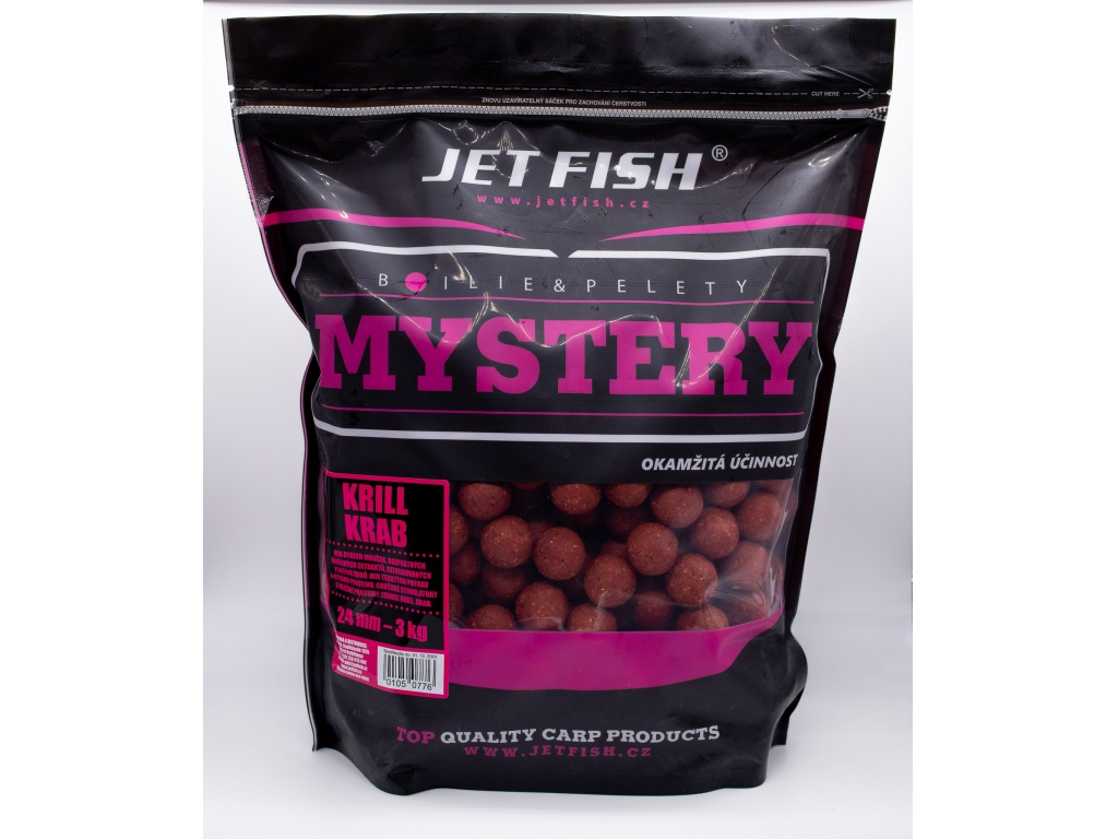 Boilie JetFish Mystery 3kg 24mm Krill/Krab AKCE 1+1 ZDARMA