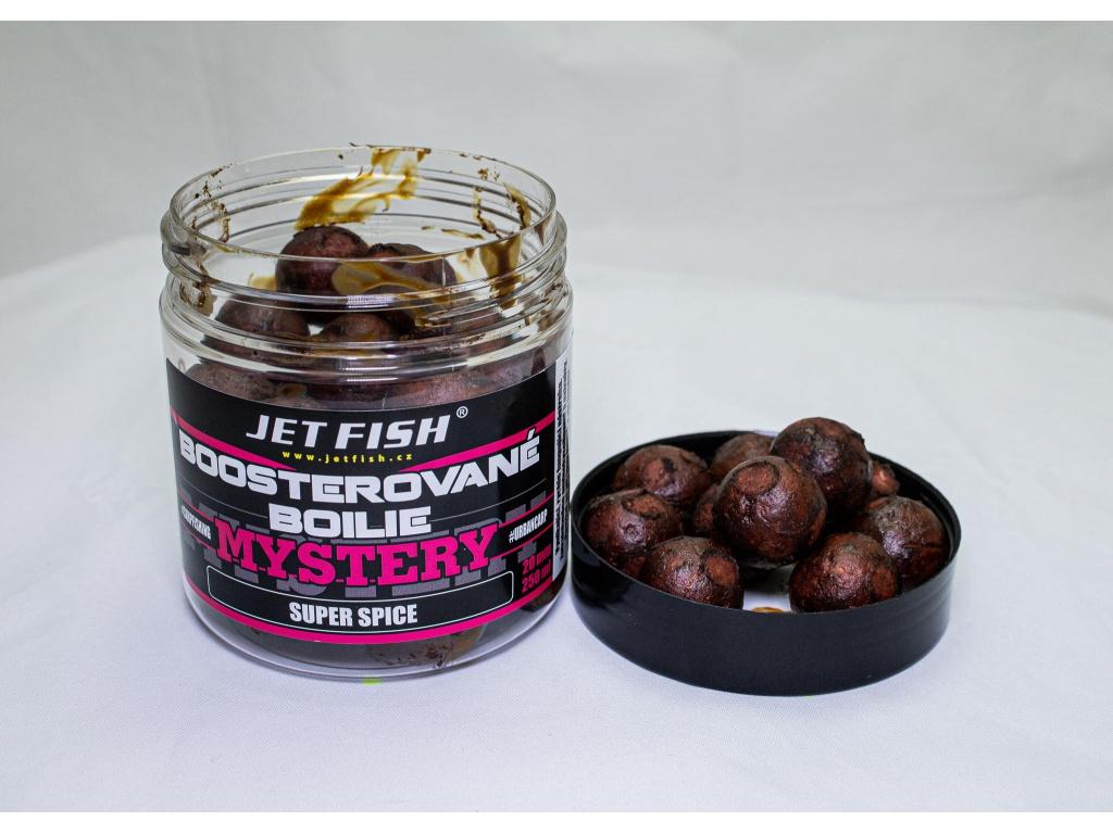 Boosterované boilie JetFish Mystery 250ml 20mm Super Spice